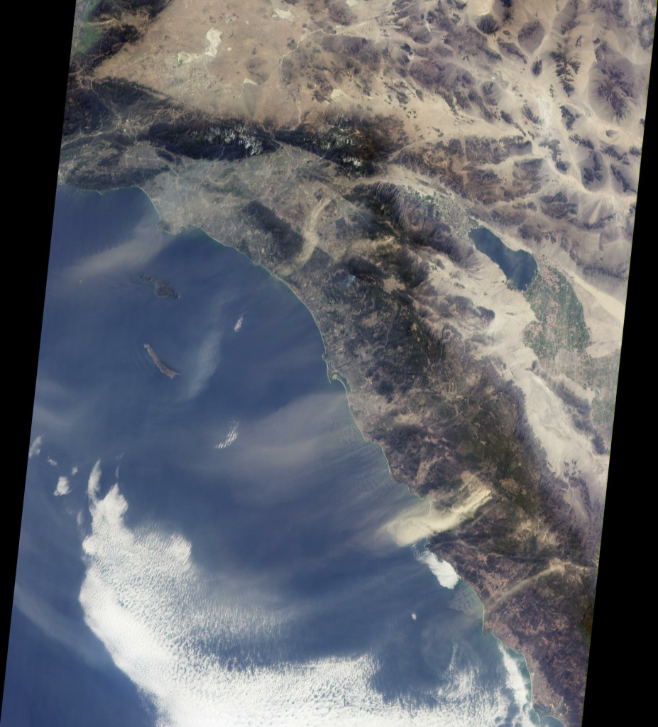 This view from NASA's Multi-angle Imaging SpectroRadiometer shows the pattern of airborne dust stirred up by Santa Ana winds on February 9, 2002. (via JPL)