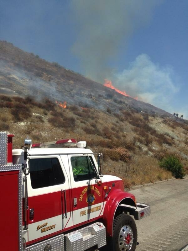 Three separate fires brought traffic to a standstill along I-15 Sunday at the Cajon Pass.