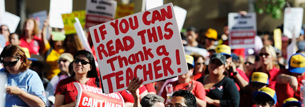Teachers, students, and their parents participating in an education budget cuts rally and protesting at Pershing Square on May 13, 2011.