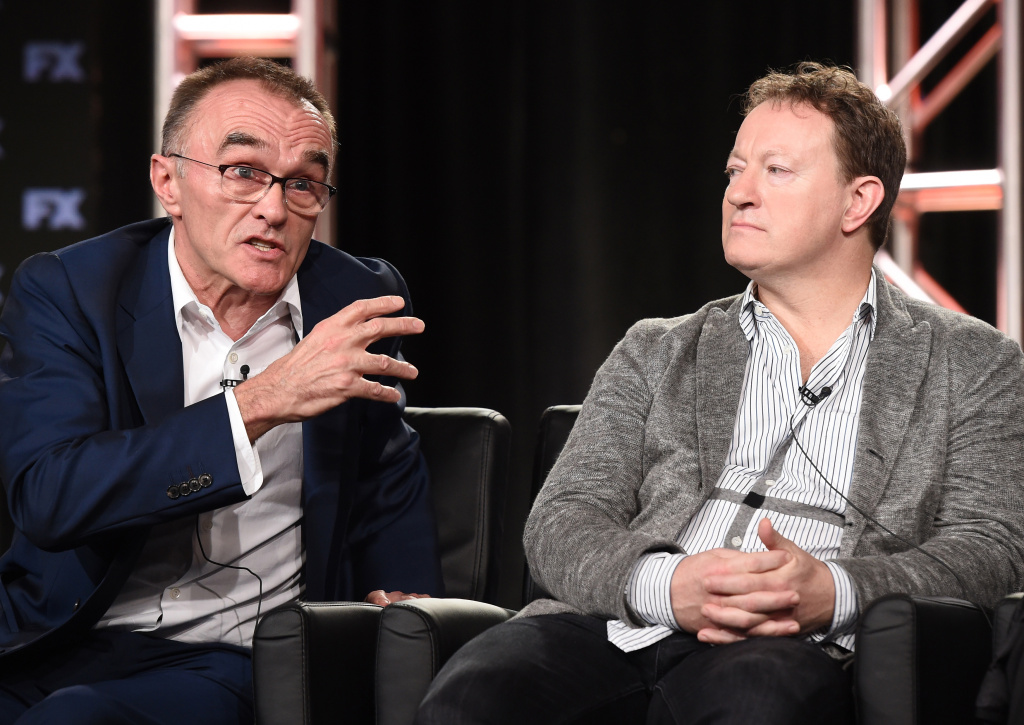 2018 FX WINTER TCA: L-R: TRUST Executive Producer/Director Danny Boyle and Creator/Executive Producer/Writer Simon Beaufoy during the TRUST panel at the 2018 FX WINTER TCA at the Langham Hotel, Friday, Jan. 5 in Pasadena, CA. CR: Frank Micelotta/FX/PictureGroup