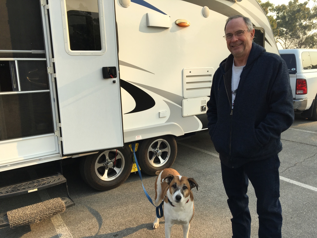 Peter Owen has living out of an RV since fleeing the Thomas Fire. He learned his house was still standing as of Thursday from his daughter's friends in the Ojai Valley. But he also says one the best sources of news about Ojai have been Facebook groups.