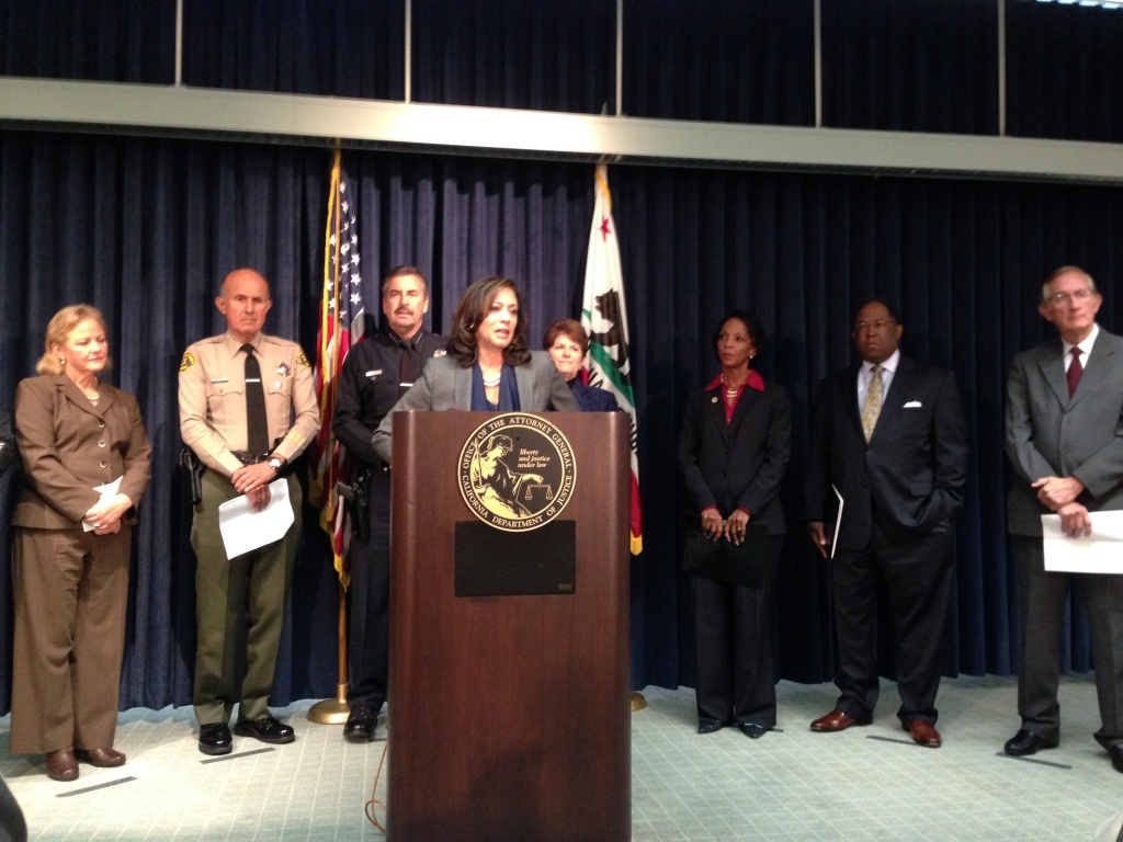 California Attorney General Kamala Harris announced she's creating a new division of the DOJ, focused on reducing recidivism. She spoke at a press conference at the state building in Downtown Los Angeles.