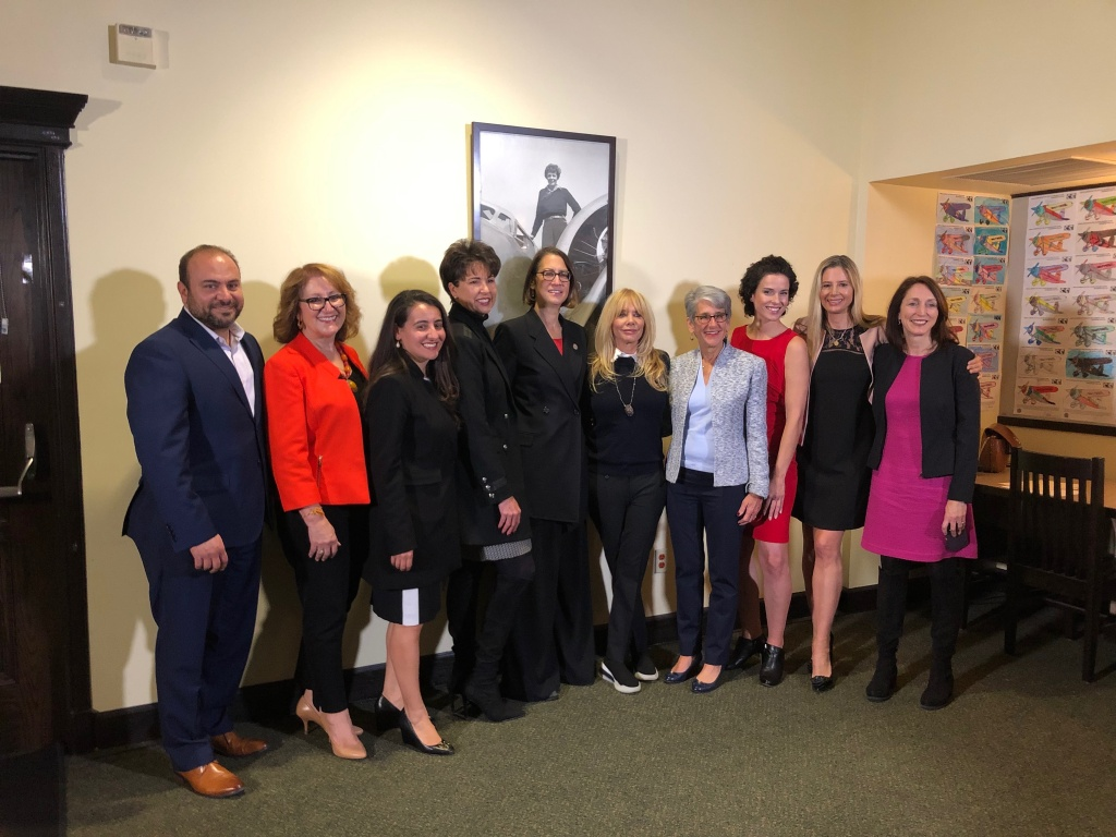 Actresses, activists and politicians celebrate four new 2019 laws combating sexual harassment in the workplace.