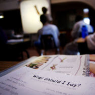 An english instruction sheet lies on a student's desk during a class in Lakeside California on Thursday, January 27, 2005.