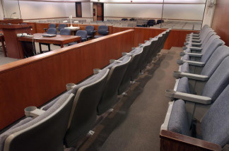 Juror seats in a courtroom