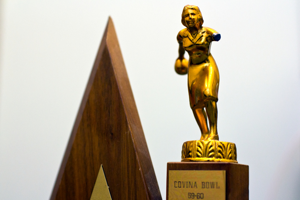 This wood bowling trophy from Covina Bowl in 1959-1960 is more rare than one would think. It was damaged when Nichols' home was burglurized.