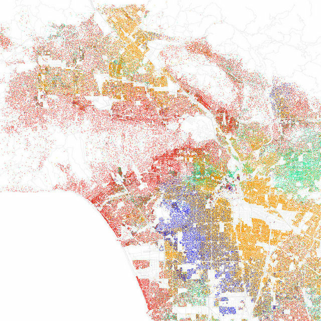 A race and ethnicity map of the Los Angeles area by artist Eric Fischer, based on the 2010 census. Red dots stand for white, blue for black, green for Asian, orange for Latino and yellow for