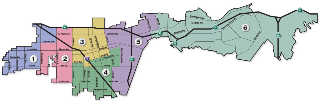 """The People's Map"" divides the city of Anaheim into six districts — one with is a Latino majority district and two others where Latinos make up nearly half of the district."