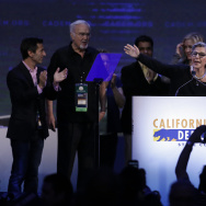 U.S. Senator Barbara Boxer, D-Calif, center, waves after speaking before the California Democrats State Convention Saturday, Feb. 27, 2016, in San Jose, Calif. (AP Photo/Ben Margot)
