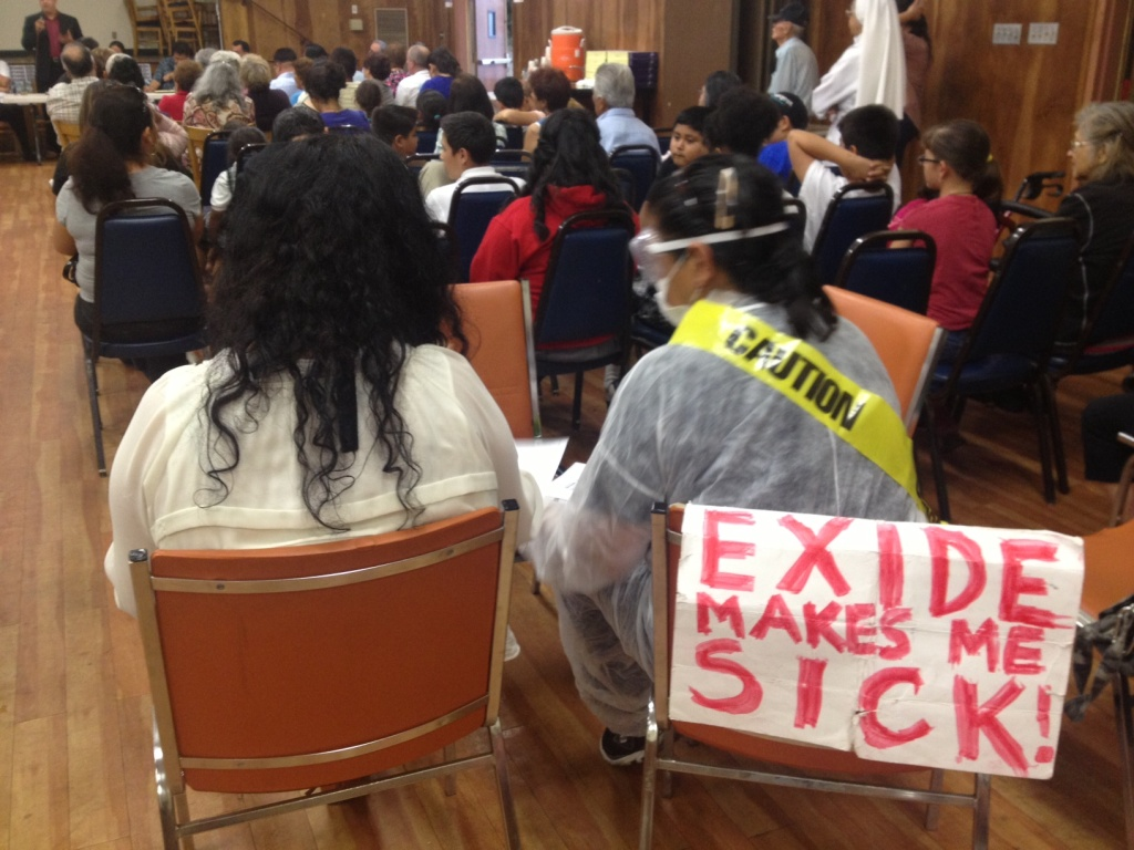 At Resurrection Church in Boyle Heights, September 9, 2013, people and politicians from east LA and surrounding cities talked about how to pressure Exide Technologies to operate more safely in Vernon.