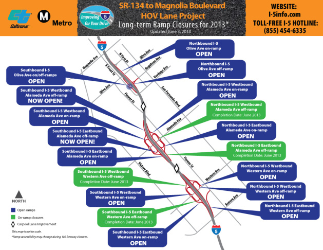 Stay up to date on the on and off-ramp closures along the I-5 carpool lane project.