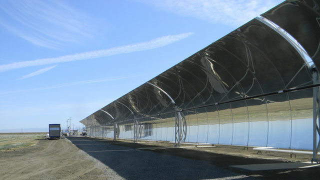 This solar desalination plant uses curved mirrors to capture the sun's energy and separate the salt from the water.