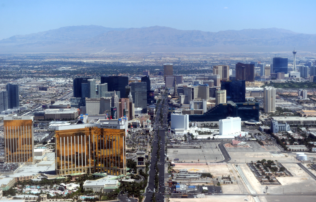 Aerial view of the Las Vegas boulevard, the Strip, in Las Vegas, Nevada on June 10, 2011. The Las Vegas Strip is an approximately 4.2-mile (6.8 km) stretch of Las Vegas Boulevard in Clark County, Nevada, adjacent to, but outside the city limits of Las Vegas proper