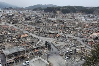 General view of the rubble of Yamada, Iwate prefecture, on March 15, 2011.