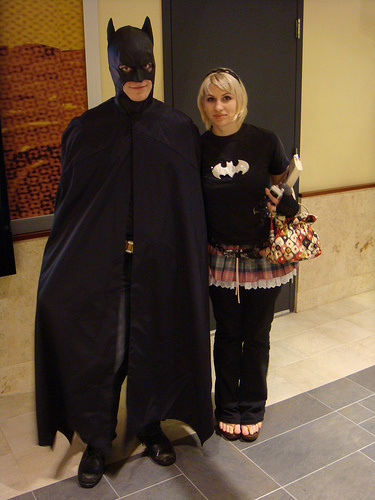 Fans dressed up as Batman to watch the midnight showing of The Dark Knight