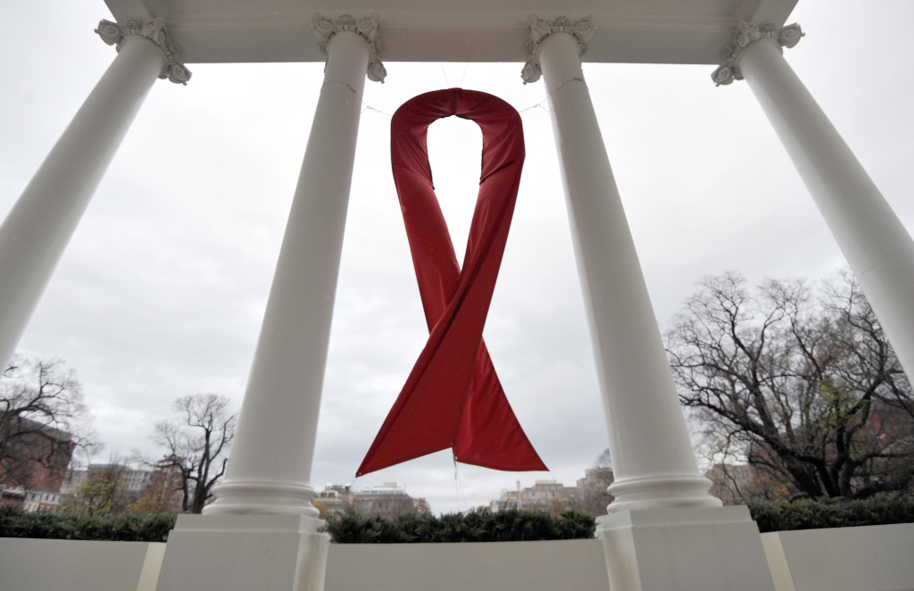 An AIDS symbol is displayed on the North Lawn of the White House in Washington, DC, on December 1, 2010 during the World AIDS Day.