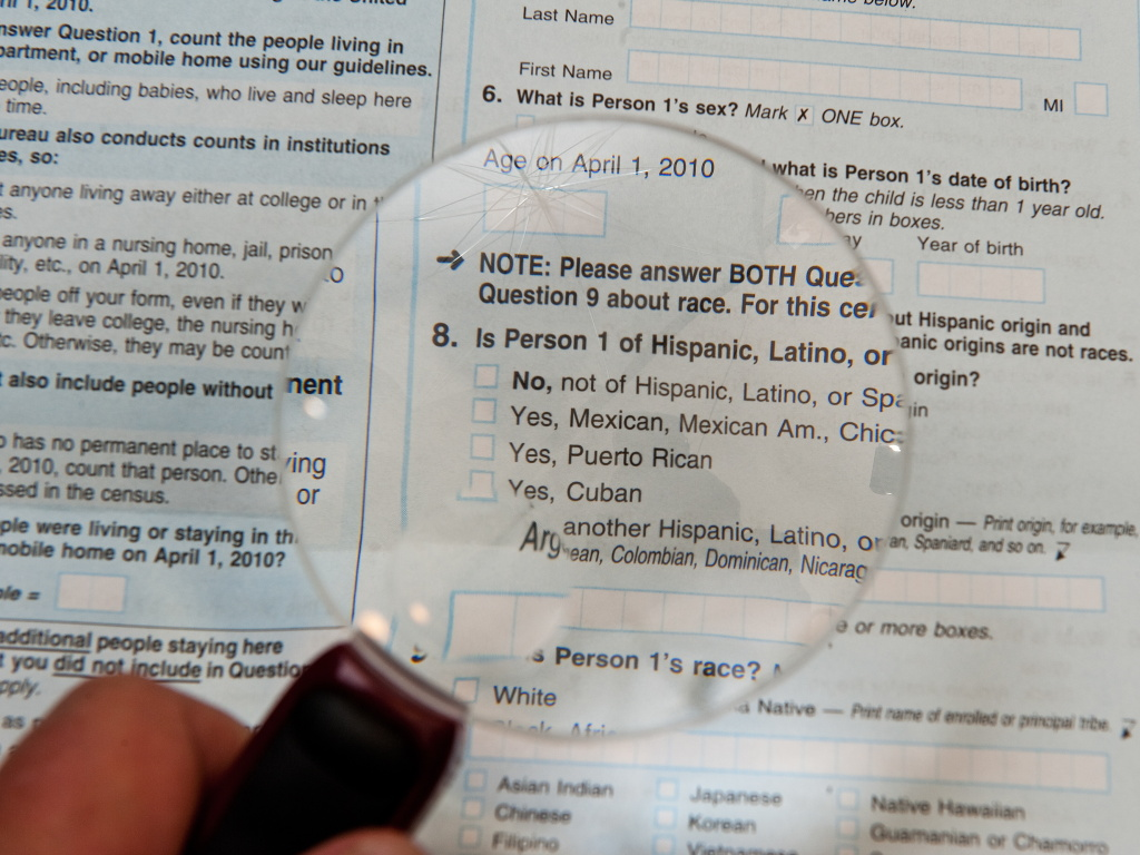The 2010 census form included separate questions about race and Hispanic origin.