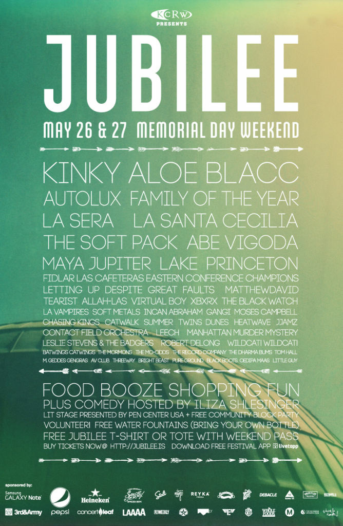 Silverlake Jubilee Lineup for Memorial Day Weekend May 26th and 27th, 2012.