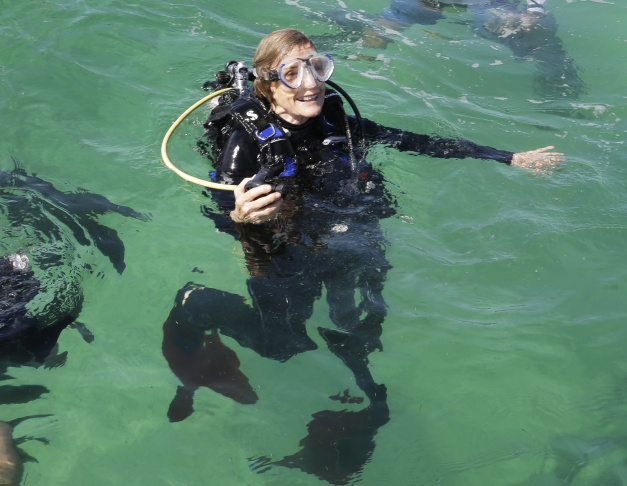 """Marine biologist Sylvia Alice Earle prepares to survey the corals off the coast of Islamorada, Fla. U.S. government scientists hope people will soon be able to go online and get a 360-degree view of reefs and other underwater wonders, much like Google Map's """"street view"""" lets people look at homes."""