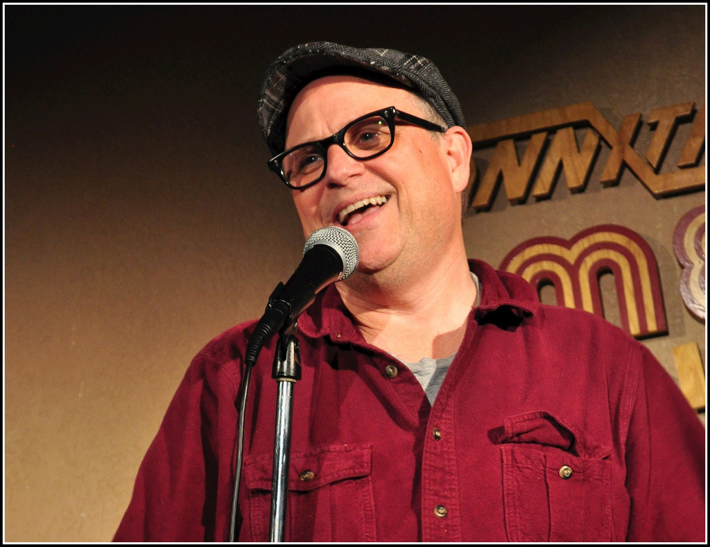 Bobcat Goldthwait performing his standup routine.