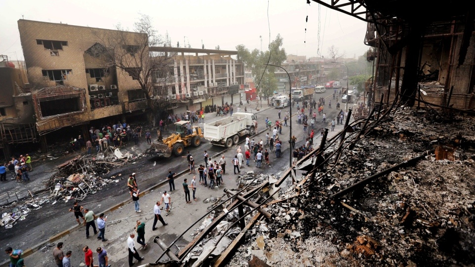 Scene from the site of the recent deadly car bomb in Baghdad, Iraq.