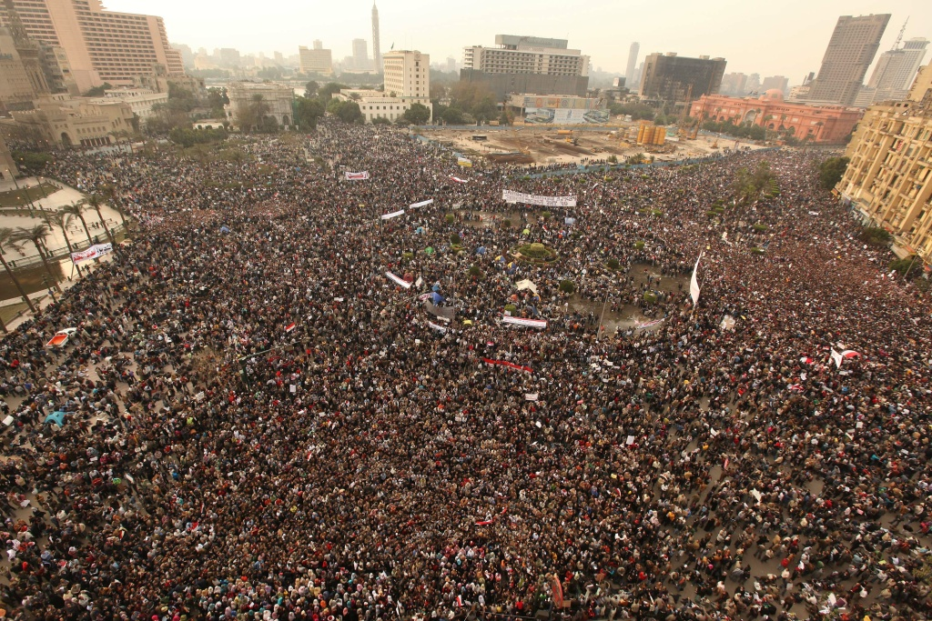 Protestors gather in Tahrir Square on February 1, 2011 in Cairo, Egypt.