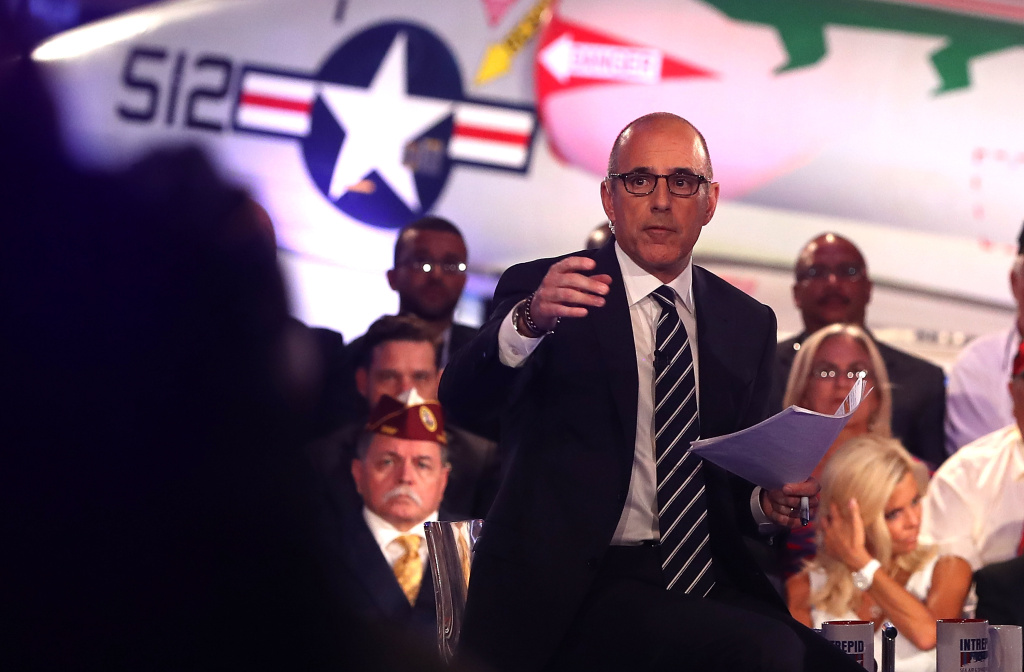 Matt Lauer looks on during the NBC News Commander-in-Chief Forum. He has been widely criticized for his performance as moderator.