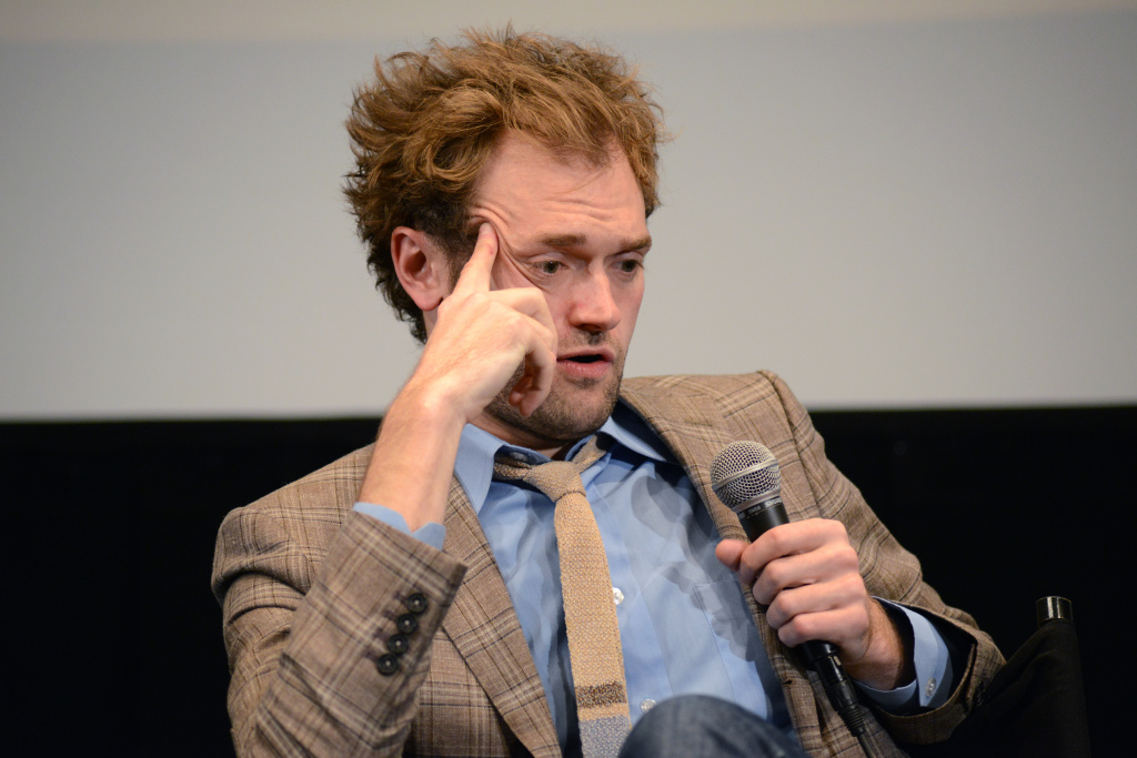 Chris Thile speaks during the Q&A following a screening of