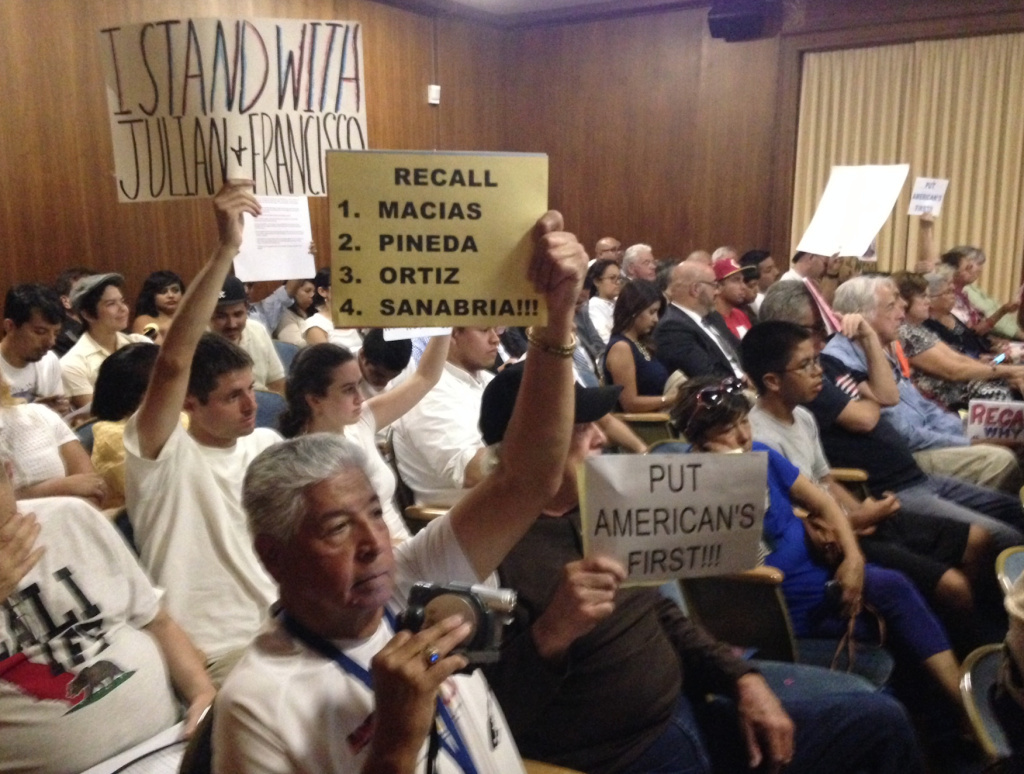 The crowd at Tuesday night's City Council meeting in Huntington Park. Two men without legal immigration status were appointed to city commissions there in early August.