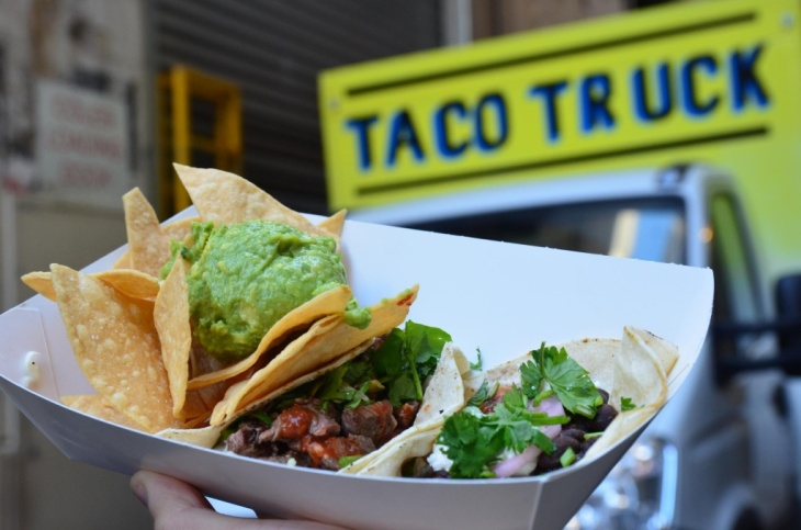 Beef, black bean taco, corn chips and guacamole AUD15 + sign - Taco Truck at Melbourne Central