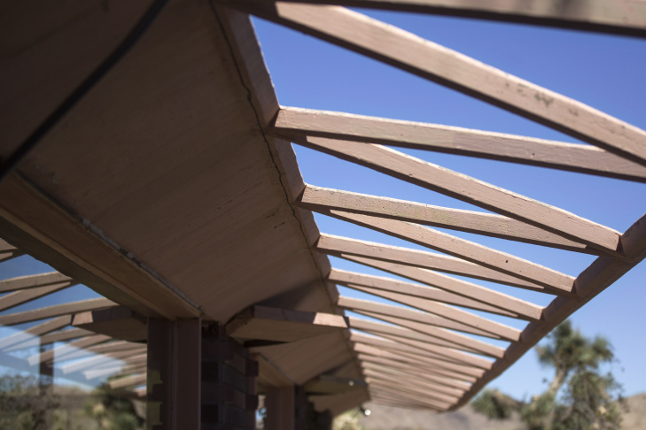 The Water Terrace serves as the dining hall at the Institute of Mental Physics in Joshua Tree, Calif. The 420-acre site is the largest collection of Lloyd Wright buildings in the country.