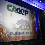 New Jersey Gov. Chris Christie addresses delegates at the California Republican Party Spring 2015 Organizing Convention in Sacramento, Calif., Saturday, Feb. 28, 2015.
