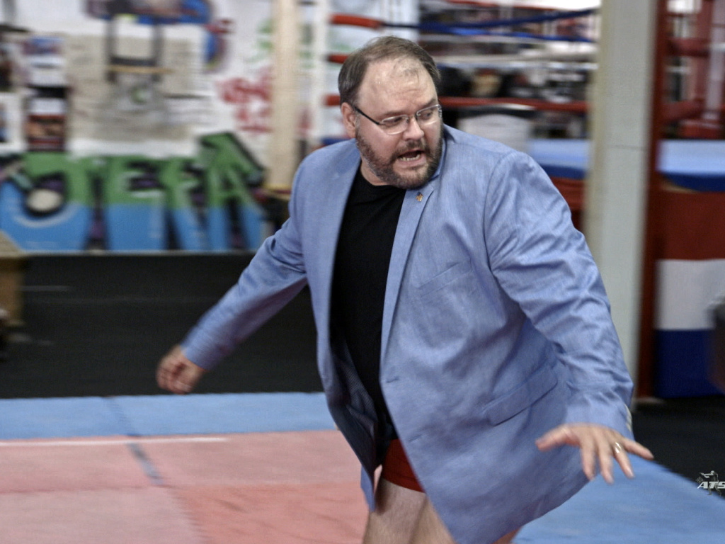 This image released by Showtime shows Jason Spencer in a scene from the series <em>Who Is America?</em> starring Sacha Baron Cohen.