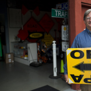Jim Morris is the general manager for JCL Traffic, a sign maker in Los Angeles that makes yellow directional signs for film sets.