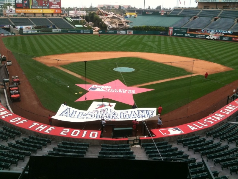 Crews prepare field at Angels Stadium for All-Star Game.