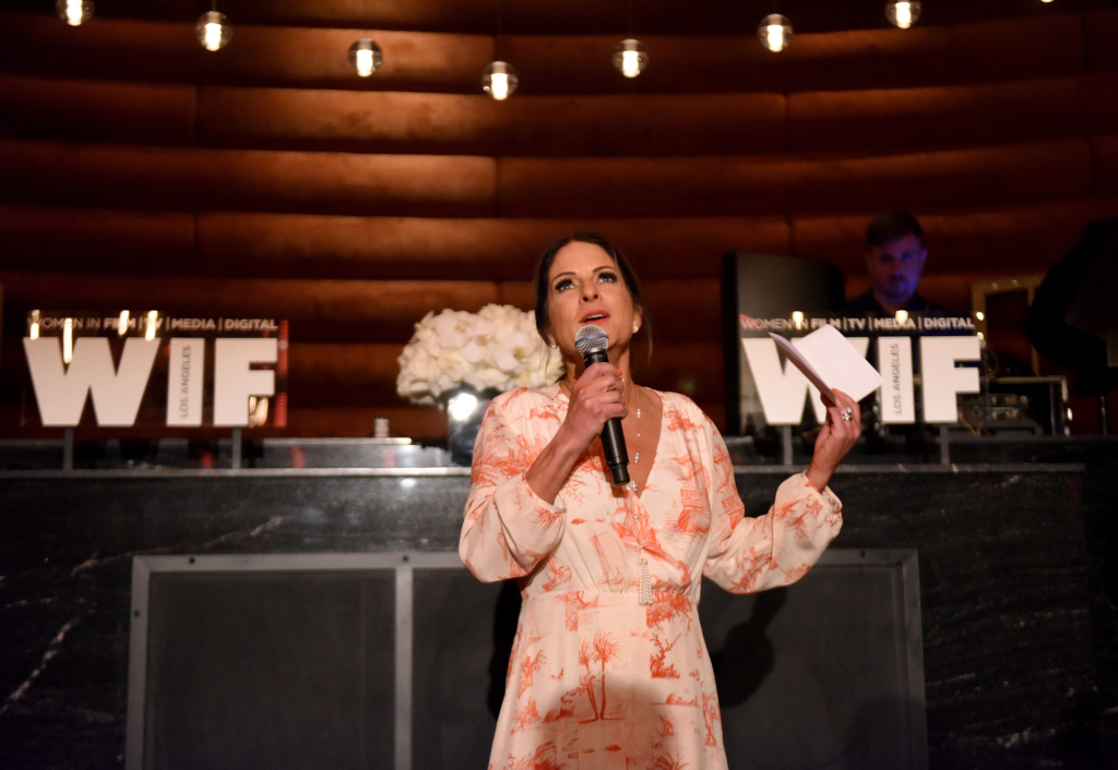 LOS ANGELES, CA - FEBRUARY 24:  President of Women In Film Cathy Schulman speaks onstage during the tenth annual Women in Film Pre-Oscar Cocktail Party presented by Max Mara and BMW at Nightingale Plaza on February 24, 2017 in Los Angeles, California.  (Photo by Vivien Killilea/Getty Images for Women In Film)
