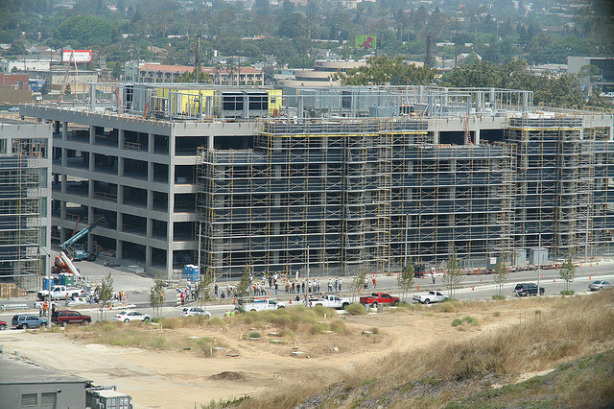 Construction crews at work on Horizon at Playa Vista, an area that has seen some of the biggest commercial rent increases. File photo.