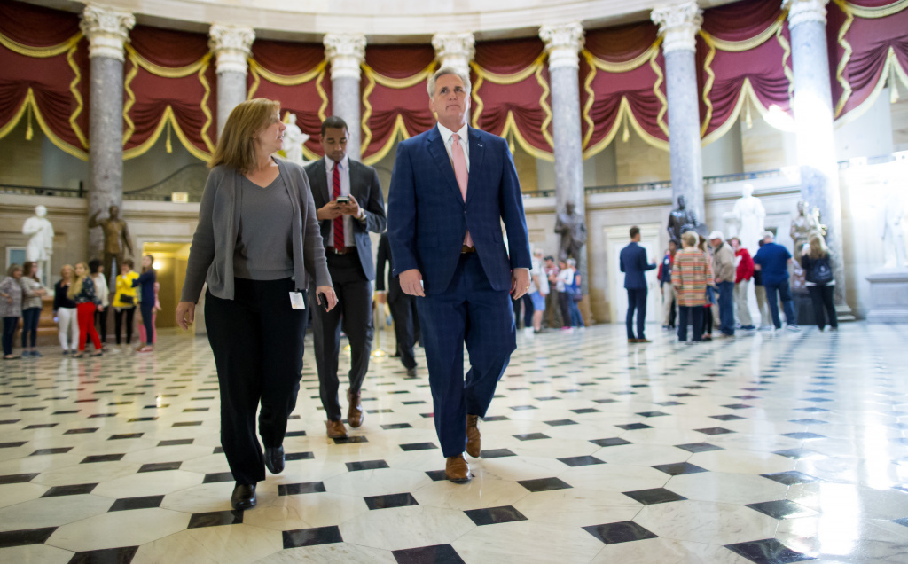 House Majority Leader Kevin McCarthy, seen walking to the House chamber on Wednesday, says he has the votes needed to pass the GOP health care bill on Thursday.