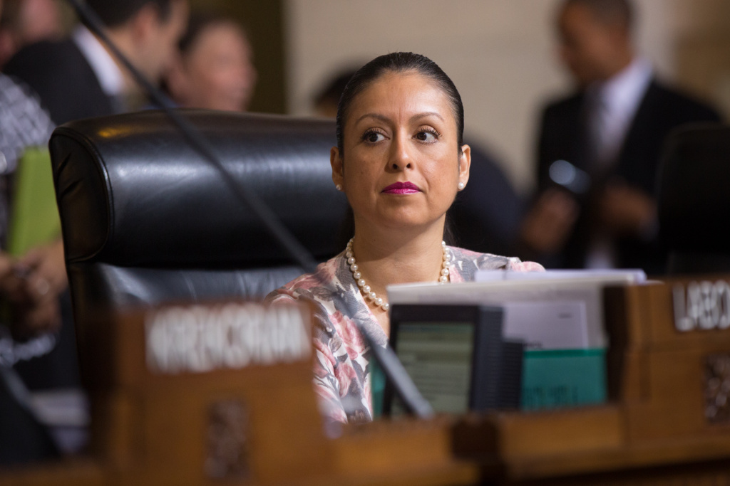 Nury Martinez at a Los Angeles City Council meeting on August 6th, 2013.