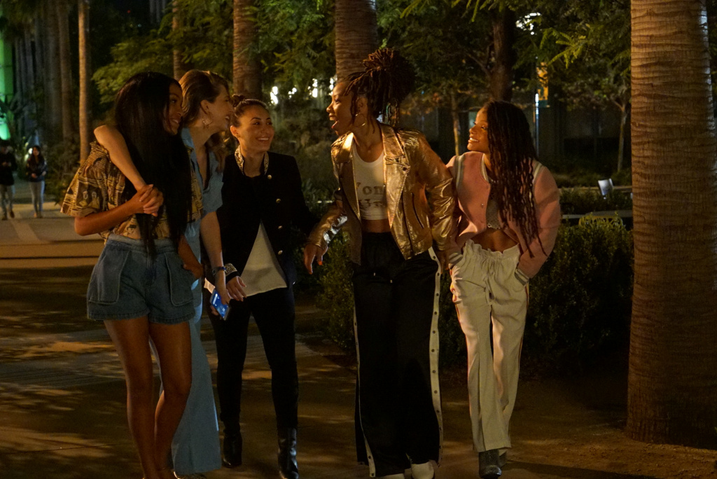 (L-R) Yara Shahidi, Emily Arlook, Francia Raisa, Halle Bailey, and Chloe Bailey in a scene from Freeform's