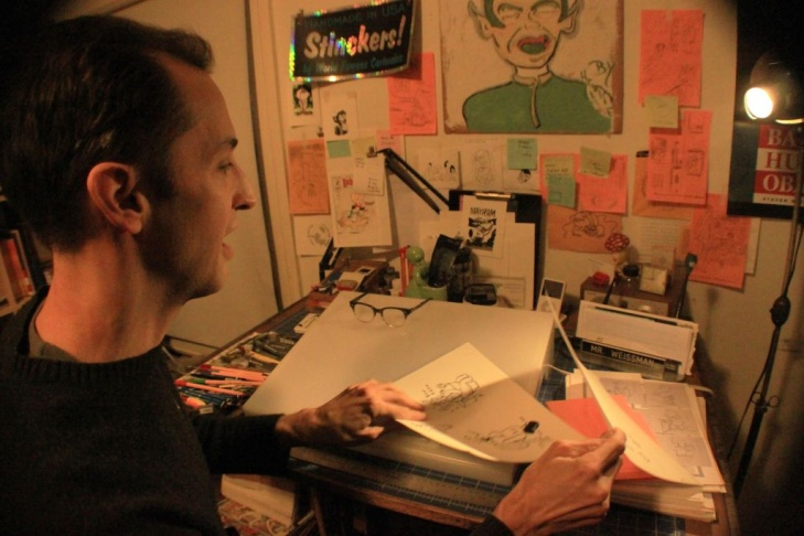 Comic artist Steven Weissman in his LA studio.