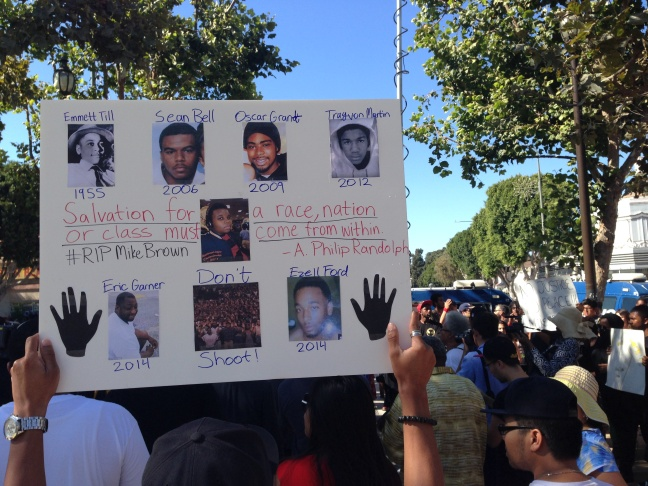 Protesters march in Los Angeles on Thursday, Aug. 14, 2014 in support of Ferguson teen Michael Brown, who was killed by police.