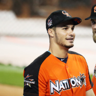MIAMI, FL - JULY 10:  Nolan Arenado #28 of the Colorado Rockies and the National League talks with Bryce Harper #34 of the Washington Nationals and the National League during Gatorade All-Star Workout Day ahead of the 88th MLB All-Star Game at Marlins Park on July 10, 2017 in Miami, Florida.  (Photo by Rob Carr/Getty Images)