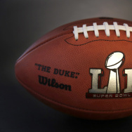 An NFL Super Bowl LI football is shown in Chicago on Jan. 25, 2017.