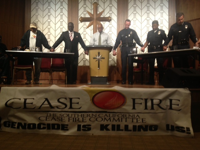 South Los Angeles residents took turns asking LAPD Chief Charlie Beck questions about Christopher Dorner's manifesto and other departmental policies affecting neighborhoods in the LAPD's South Bureau.