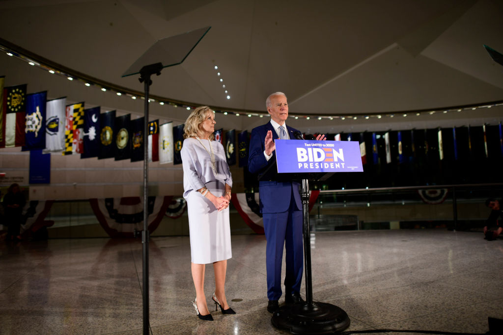 Democratic Presidential candidate former Vice President Joe Biden addresses the media and a small group of supporters with his wife Dr. Jill Biden during a primary night event on March 10, 2020 in Philadelphia, Pennsylvania.
