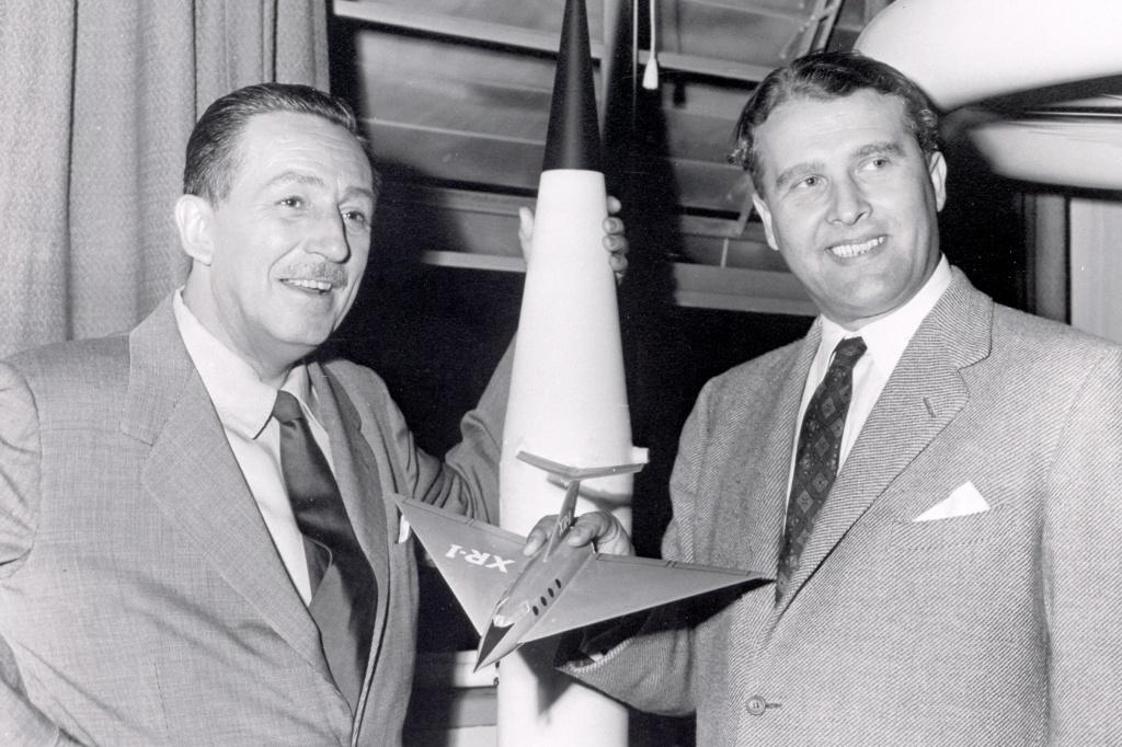 Walt Disney and Wernher von Braun, seen in a publicity photo.