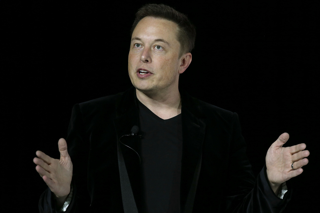 Elon Musk speaks during an event to launch the new Tesla Model X Crossover SUV on September 29, 2015 in Fremont.