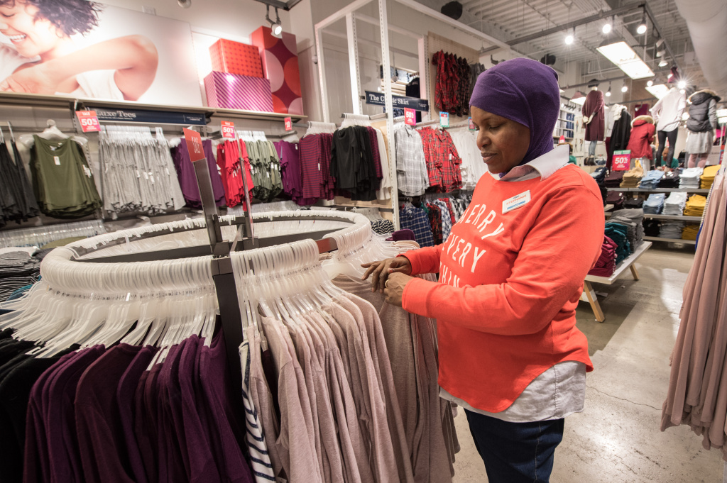 An employee at an Old Navy on Black Friday, November 24, 2017 in New York City.