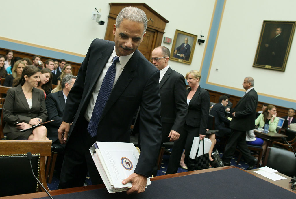 Attorney General Eric Holder arrives at a House Judiciary Committee hearing at a House Judiciary Committee hearing on Capitol Hill, June 7, 2012 in Washington, DC. Oversight members will be hearing testimony on the initiatives of the U.S. Department of Justice.